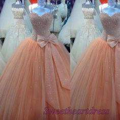 Princess orange tulle   satin long prom dress for teens, sweetheart neckline ball gown with straps, evening dress 2016 -> sweetheartdress.s... #coniefox #2016prom