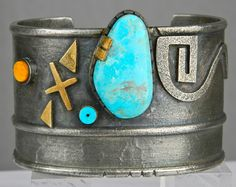 Cuff | Raymond Sequaptewa, Hopi. 'Water Journey' Bisbee Turquoise, 14K Gold, Silver, Spondylus shell