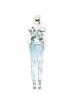 YAYA SS'16   P FOR PALMPRINT   SKETCH #YAYASS16 #YAYAthebrand #Pforpalmprint #Sketch #Printed #Top #Mom #Jeans