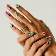 Колорблок маникюр colorblock nail design