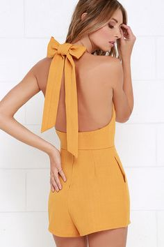 When you're packing your luggage for a coastal adventure, the one thing you'll want to wear is the Flight to Florianopolis Golden Yellow Romper! Backless romper with shorty-shorts. Pretty Outfits, Cute Outfits, Fashion Wear, Fashion Outfits, Summer Outfits, Casual Outfits, Cute Rompers, Rompers Dressy, Romper Pattern