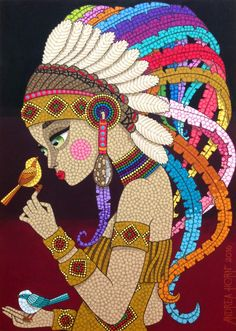 Técnica: Mosaico de Tinta Tamanho: 50x70cm   Tinta plástica sobre madeira com acabamento em verniz marítimo