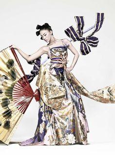 "National Costume for Miss Universe Japan 2010, Maiko Itai.  ""Dream"" Costume designed by John Galliano, made with antique Kimonos fabrics    Photo by Matuki Kohei  Hair designed by Sunao for TONI Harajuku  Makeup created by Izumi Saito"