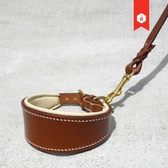 Monogram English Bridle Leather collar for Greyhounds | HOUNDWORTHY