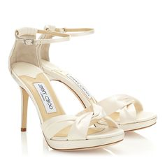 Fashionable Ivory Satin Platform Sandals | Bridal | JIMMY CHOO Shoes
