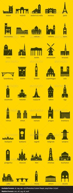 European Capitals #GraphicRiver European capitals symbolized by their main landmark building Files Included: Illustrator file (.ai)