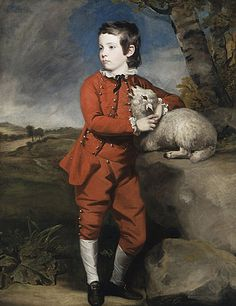 Joshua Reynolds (England, 1723 - 1792)   Boy in Red with a Lamb, circa 1775  Painting, Oil on canvas, 47 1/4 x 35 7/16 in. (120 x 90 cm)  Promised gift of Dona and Dwight Kendall, Dr. Carolyn J. Kendall, Richard W. and Dr. Susan E. Kendall-Bell and family (AC1996.56.1)  European Painting and Sculpture Department.