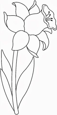 Embroidery Patterns, Hand Embroidery, Stained Glass Patterns, Fabric Painting, Daffodils, Painted Rocks, Coloring Pages, Art Drawings, Stencils