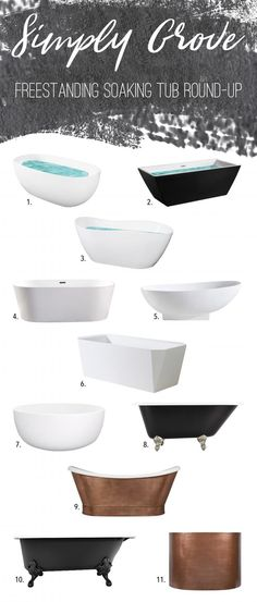 Affordable Freestanding Soaking Tub Round-Up via Simply Grove