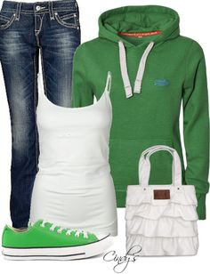 """Green Top"" by cindycook10 on Polyvore"