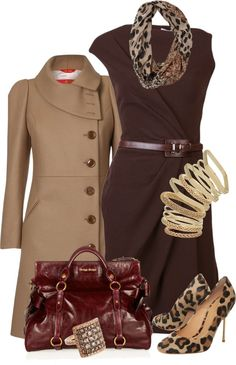 """Brown Fitted Dress"" by uniqueimage on Outfit Style Work, Mode Style, Classy Outfits, Fall Outfits, Fashion Outfits, Work Outfits, Outfit Work, Workwear Fashion, Fall Dresses"