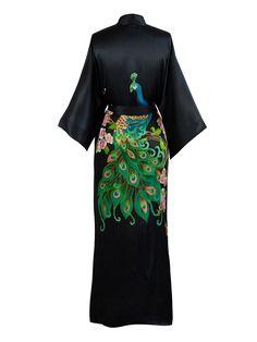 09e490ed80 Old Shanghai Women s Silk Kimono Long Robe - Handpainted - Cherry Blossom  Black at Amazon Women s