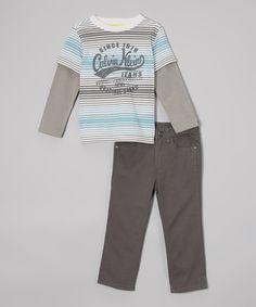 Product Code: CKJX-00010 Item Description:Blue & Grey Striped Tee and Classic Jeans藍色+灰色間條汗衫&經典牛仔褲 Size:18M(18Months, 76.2-81.3cm), 24M(24Months, 81.3-86.4cm) Price:HK$355 Whatsapp :(+852) 6924-3068 http://www.facebook.com/BeesyTots