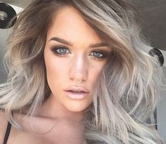 Love this hair color  silver hair with brown roots