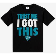 DC Comics Superman Trust Me Screen Print T-shirt Boys 8-18 ($5.96) ❤ liked on Polyvore featuring shirts