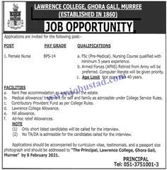 #lawrencecollegejobs2021 #lawrencecollegemurreejobs2021 #govtjobsinmurree Lawrence College Jobs 2021 has been announced in Gorha Gali Murree. To fill Female Nurse Jobs in Pakistan, interested applicants should have F.Sc Pre Med with nursing diploma and minimum 5 years of professional experience to apply. The upper age limit is 40 years to apply for these Government Jobs 2021.