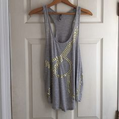"""Grey Tank with Gold Embellishments No Trades or PayPal Same Day Shipping Offers Welcomed Please Use """"Make An Offer"""" Button  Bundle Discounts on 2 or more items  Charlotte Russe Tops Tank Tops"""