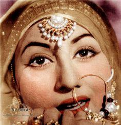 Madhubala as Anarkali. Originally black and white photo coloured by me.