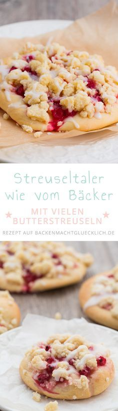 Streuseltaler with redcurrants - Kuchen Rezepte - Cheesecake Recipes, Cupcake Recipes, Baking Recipes, Cookie Recipes, Dessert Recipes, Cakes And More, No Bake Desserts, Cake Cookies, Sweet Treats