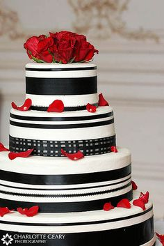 Red, white, and black wedding cake by Charlotte Geary Photography, via Flickr