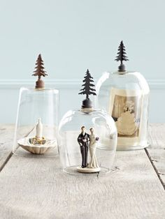 Cloche...Upend ordinary glassware as mini cloches.  Get creative with these ideas for crafts made of recycled materials.