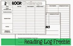 Perfect 5th grade reading log for the 40 Book Challenge!                                                                                                                                                     More