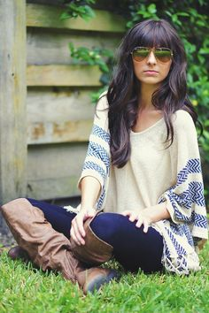 The Chief's Daughter Sweater: Tan i love everything.. the sweater, sunglasses, BOOTS<3... even her hair!
