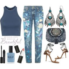 Street Style Chic - Polo Ralph Lauren Distressed Paint Splatter Jeans by latoyacl on Polyvore featuring moda, Topshop, Polo Ralph Lauren, Isabel Marant, Accessorize, Sigma Beauty, Smashbox and Lauren B. Beauty