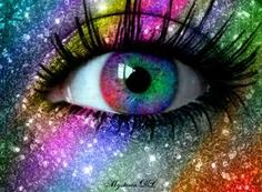 Not sure where to get those contact lenses but I like it! Rainbow Glitter Eyes