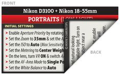 Nikon D3100 Cheat Sheet - Great set of cheat sheets for getting away from always using the auto settings for a great low price!