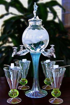 Rozier Fee 4 Spout Absinthe Fountain With Glasses & Spoons Art Nouveau, Art Deco, Swirl Design, Home And Deco, Decoration, Tea Set, Tea Party, Spoon, Glass Art