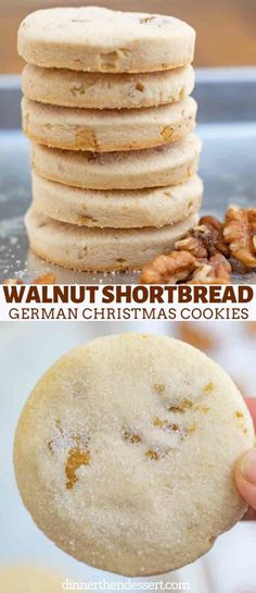 christmas cookies recipes Walnut Shortbread (German Christmas Cookies) - Dinner, then Dessert German Walnut Shortbread Cookies made in a traditional shortbread style with coarsely chopped chunks of walnuts, these are the perfect Christmas cookies. Whipped Shortbread Cookies, Shortbread Biscuits, Shortbread Recipes, Biscuit Cookies, Sandwich Cookies, German Christmas Cookies, German Cookies, Holiday Cookies, Christmas Shortbread Cookies