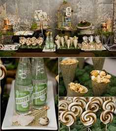 Some sweet ideas! #Rustic #Candybar #Candybuffet #Lollipops #Moss #Décor #Unique #Weddings #Babyshowers