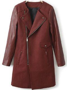Wine Red Lapel Long Sleeve Zipper Pockets Coat