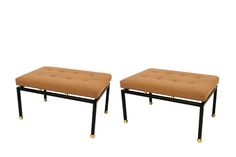 New-york-design-center-pair-of-brass-ball-foot-benches-furniture-benches
