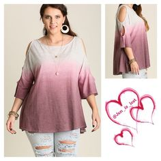 Cold Shoulder Top XL, 1XL, 2XL Cold Shoulder Gradient Top  What a fabulous cold shoulder top.  Such an easy style and wear!  Fabric: COTTON BLEND Wine and Gray   No trades  ✅ Reasonable offers welcomed. ✅ Happy Poshing  Tops