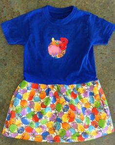 """Both prints are from the Berenstain Bears' """"A Beary Happy Birthday"""" collection by Moda Fabrics. Berenstain Bears, Gifts For Family, Applique, Happy Birthday, Fabrics, Shirt Dress, Skirt, Projects, Prints"""