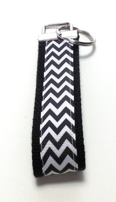 #Black #Chevron #Wristlet Key Fob Key Ring Key by GabbysQuiltsNSupply, $5.00