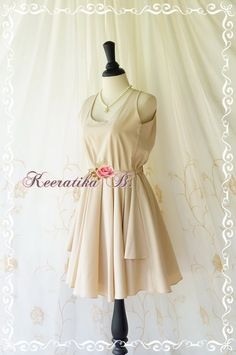 A Party Kate Halter Party Dress Beige by LovelyMelodyClothing, $48.60