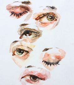 Pin by meena athmanathan on art illustration in 2019 dibujar arte, arte de acuarela Watercolor Eyes, Watercolor Portraits, Watercolor Paintings, Art Sketches, Art Drawings, Elly Smallwood, Guache, Wow Art, Art Studies