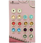 Princess-J Vintage Cute Flower Faceted Glass Rhinestone Beads with Little Crystal Stud Wrapped Round Clip-on Earrings, Pack of 8 Pairs