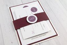 Classic Monogram Wedding Invitation -  White and Plum Wedding Invitation on Etsy