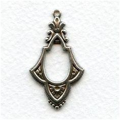 Ornate Pendant Drops 38mm Oxidized Silver (6)