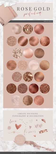The Ultimate Stylish Textures Pack A stylish (and absolutely huge) pack of textures in glitter, foil, marble, blush, rose gold and more. INSTANT DOWNL… - Decoration For Home Gold Color Palettes, Gold Color Scheme, Colour Schemes, Rose Gold Color Palette, Rose Gold Colour, Pink Color, Wedding Nails For Bride, Bride Nails, Rose Wedding