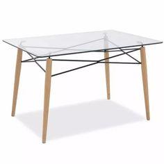 mesa rectangular de vidrio modelo escandinavo 140x90