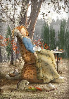 Memes Arte, Reading Art, Illustrations, Whimsical Art, Cute Illustration, Cat Art, Art Girl, Painting & Drawing, Folk Art