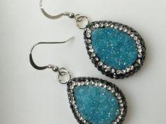 Druzy Earrings Turquoise Druzy Earrings by AngelWearDesigns2013
