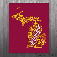 Mt Pleasant, Michigan Landmark Glicée Print - Maroon and Gold University Print - Central - Perfect College Dorm or Apartment Decor!