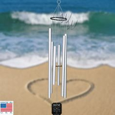 Premium Amazing Grace 36 Wind Chime - tuned to the key of C and including a personalized wind paddle engraved with love to Mom @ Whimsical Winds