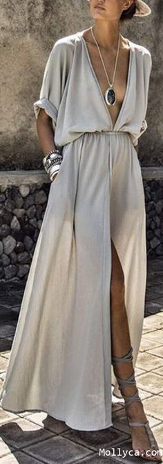Buy 2 Got 5% OFF Code: mollyca  V-Neck Elastic Waist Plain Maxi Dress